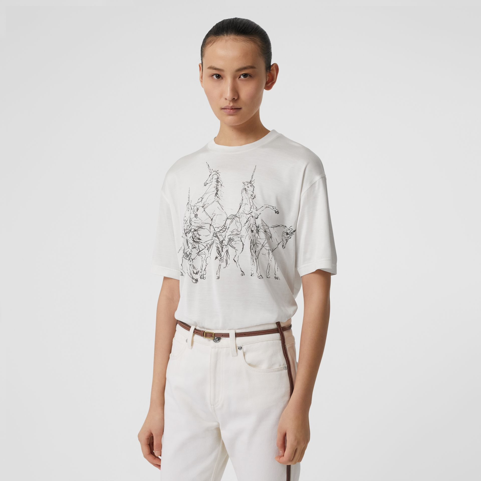 Unicorn Sketch Print Jersey Oversized T-shirt in White - Women | Burberry - gallery image 0