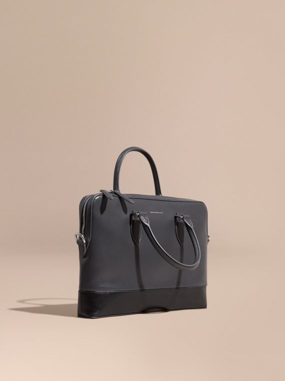 The Slim Barrow in Panelled London Leather Charcoal/black