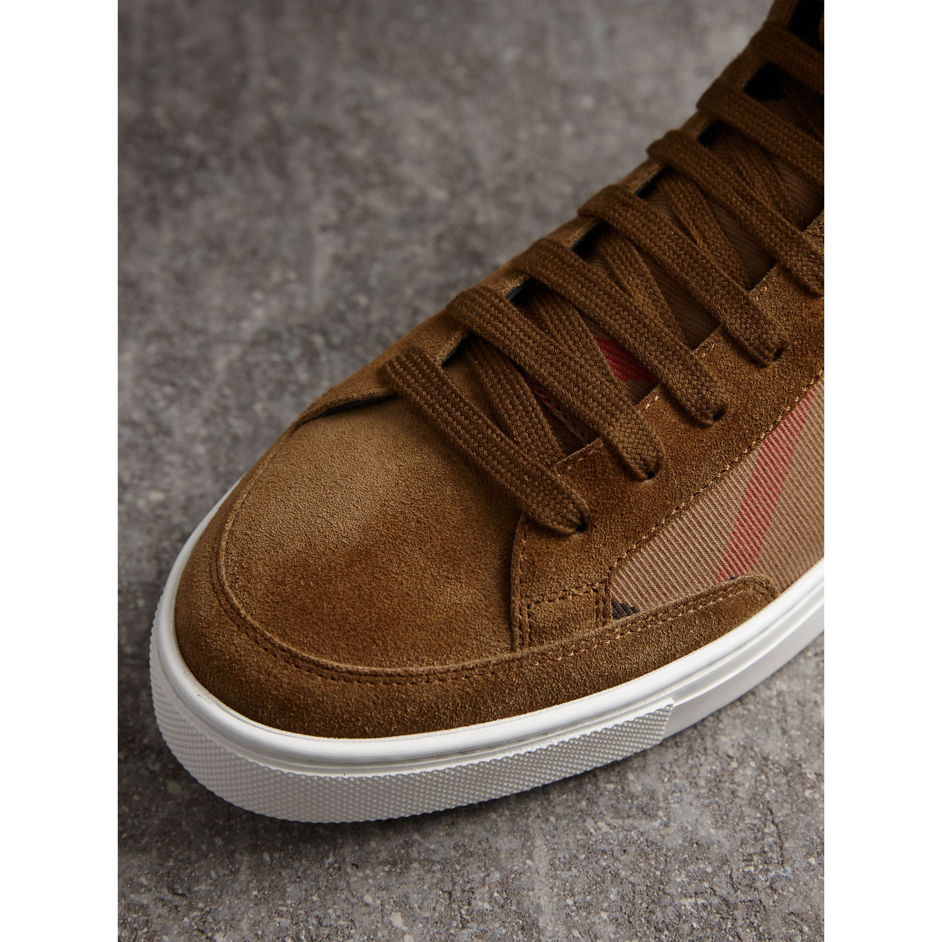 House Check Cotton and Calf Suede High-top Trainers in Flax Brown - Men | Burberry Australia - gallery image 2
