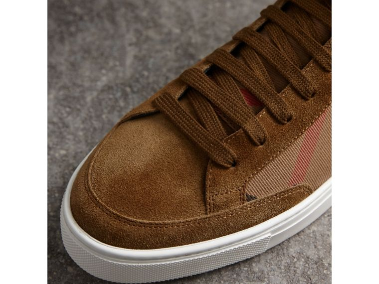 House Check Cotton and Calf Suede High-top Trainers in Flax Brown - Men | Burberry Singapore - cell image 1