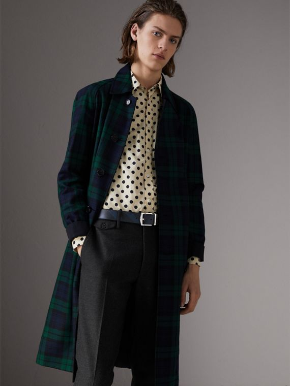 Reversible London Check and Leather Belt in Navy/black - Men | Burberry - cell image 2