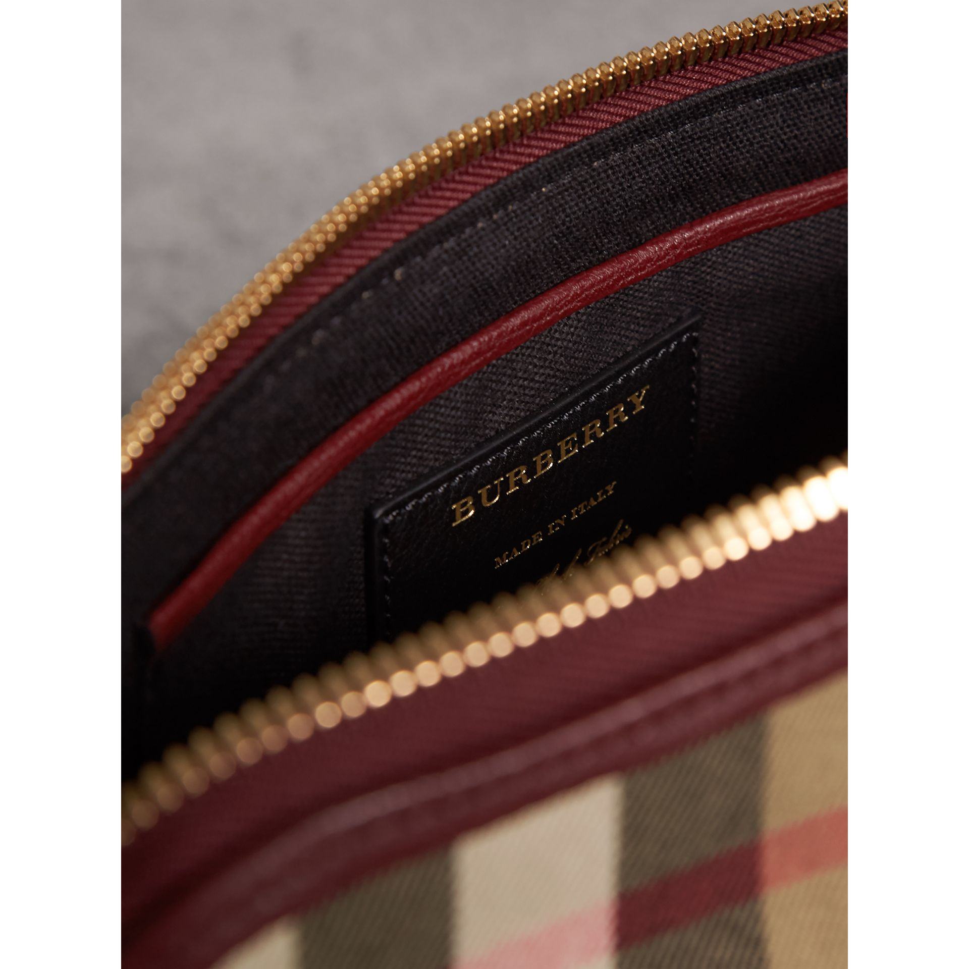 House Check and Leather Clutch Bag in Mahogany Red - Women | Burberry - gallery image 6