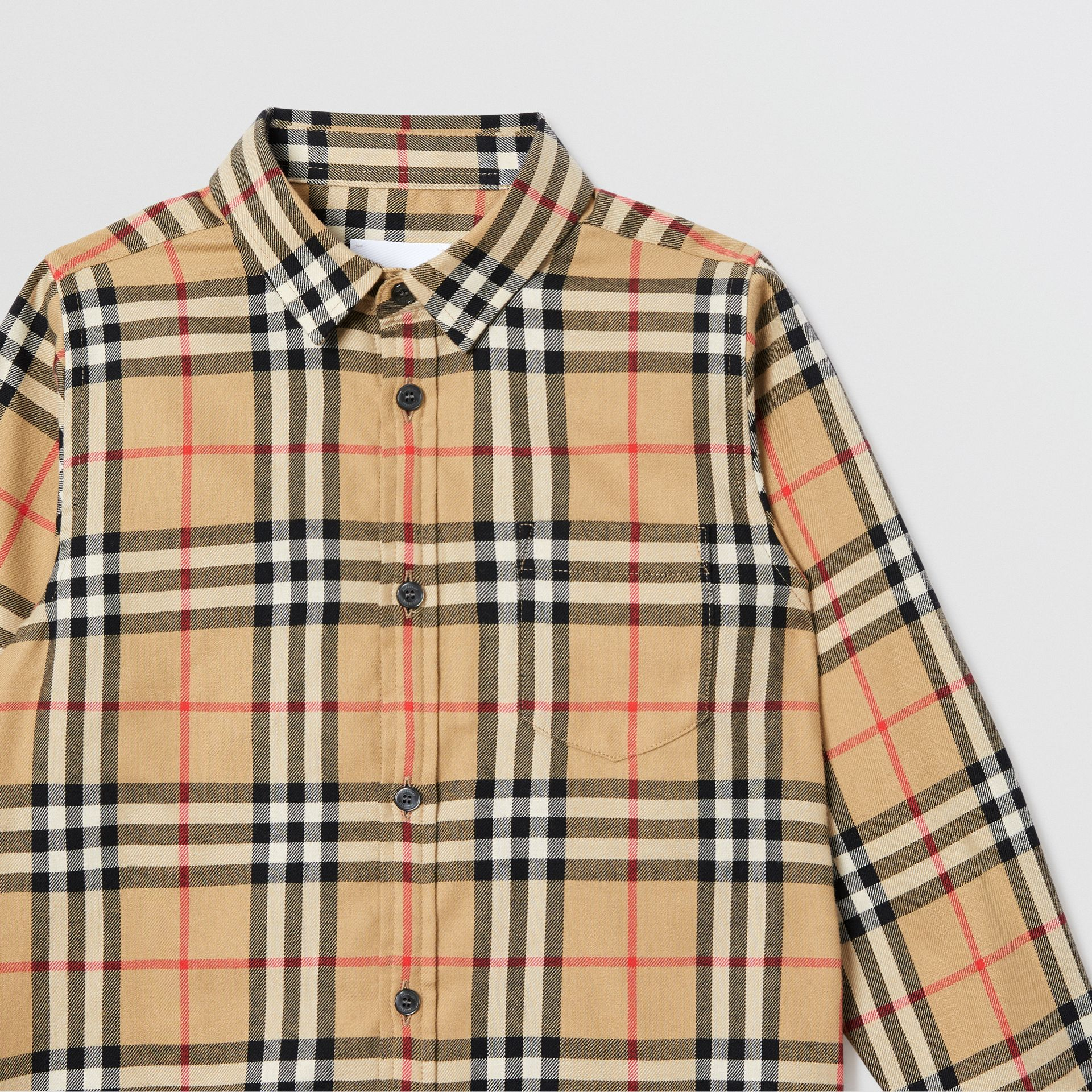 Vintage Check Cotton Flannel Shirt in Archive Beige | Burberry Australia - gallery image 4