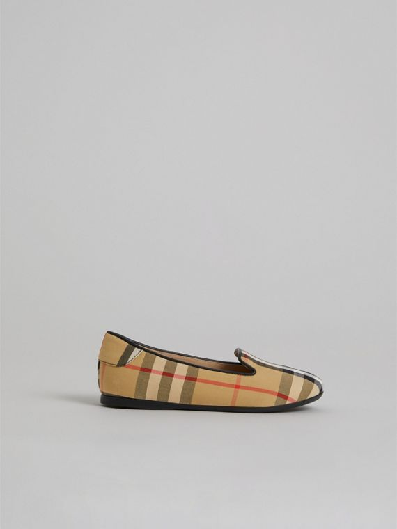 Vintage Check Slippers in Antique Yellow - Girl | Burberry - cell image 3
