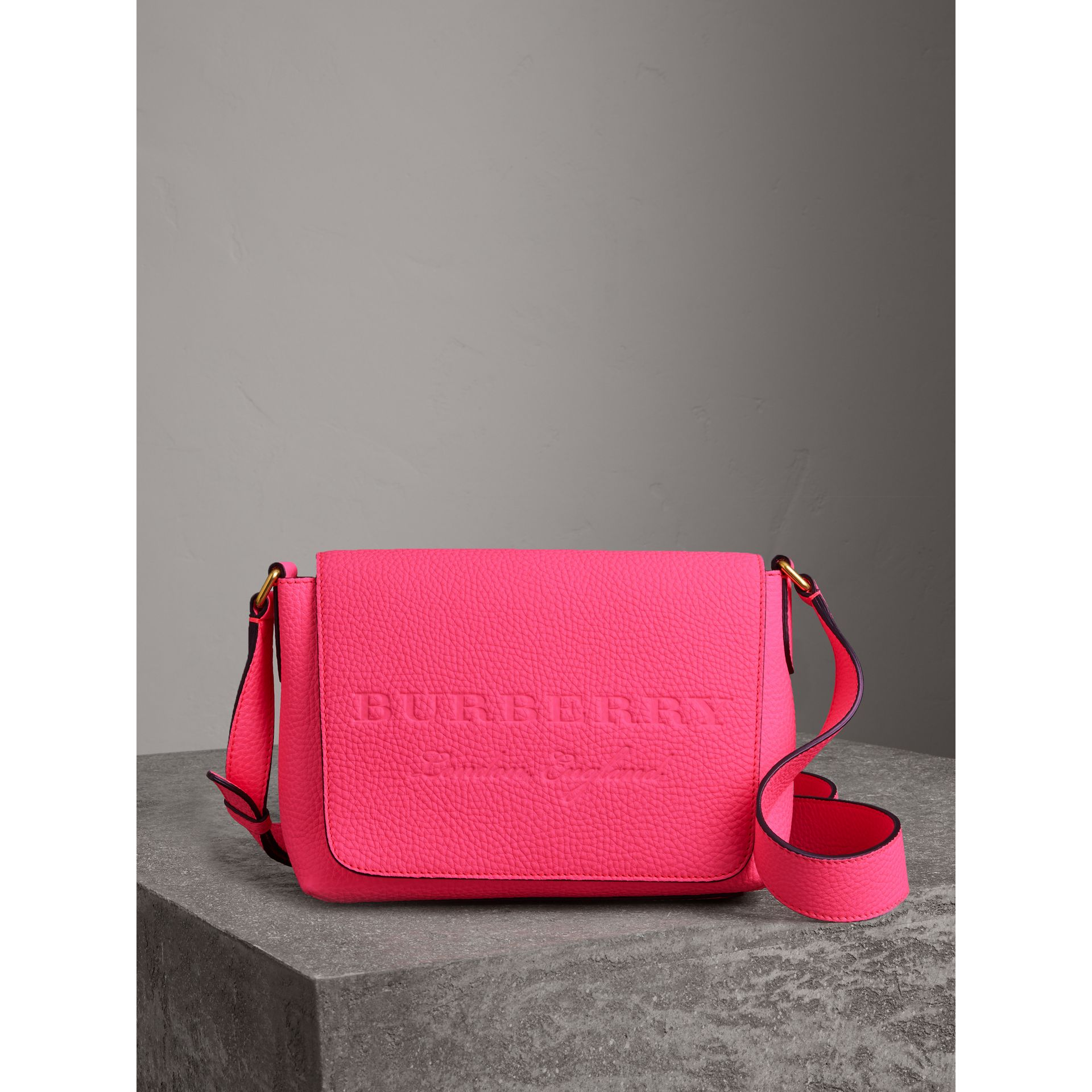 Small Embossed Neon Leather Messenger Bag in Pink - Women | Burberry United States - gallery image 0