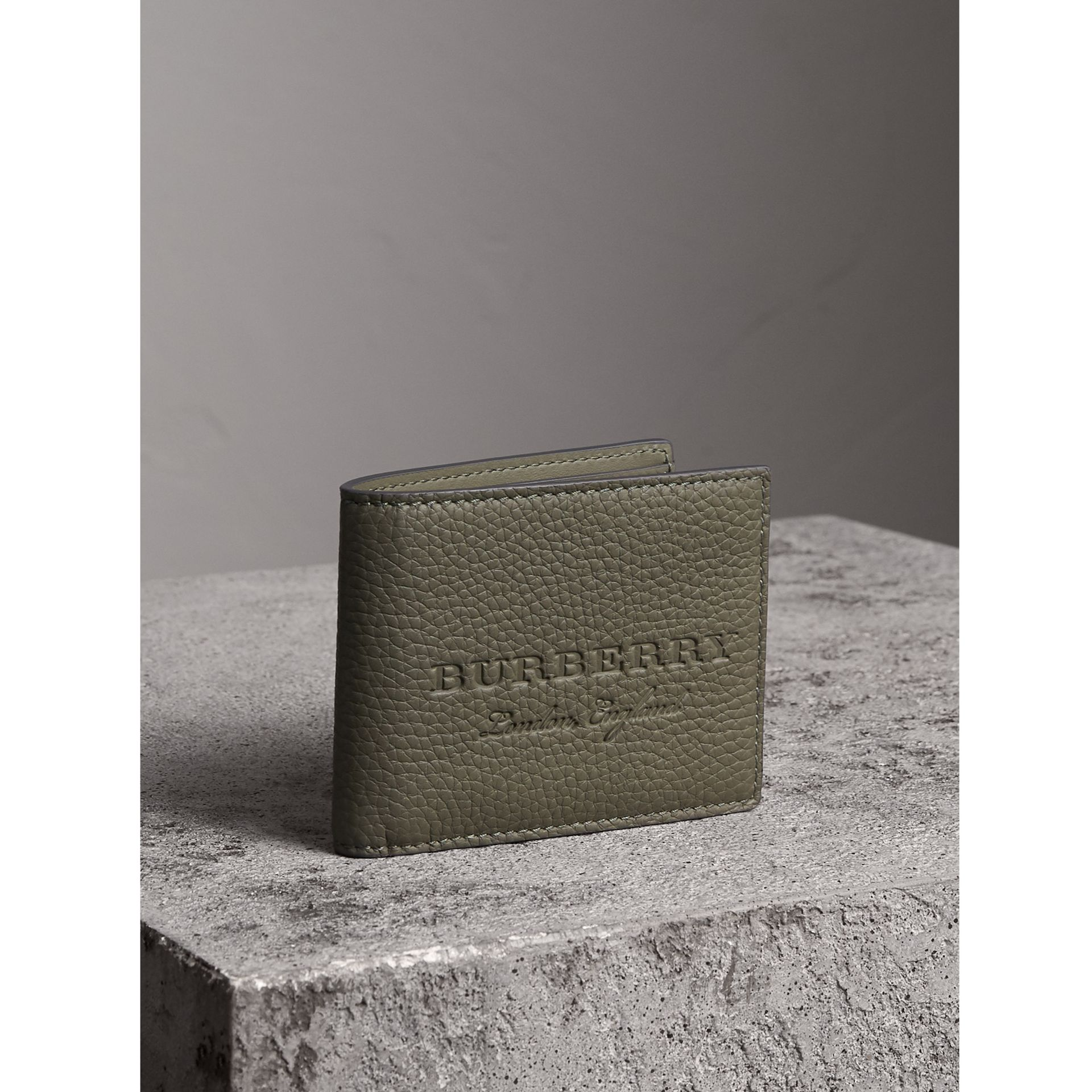 Textured Leather Bifold Wallet in Slate Green - Men | Burberry United Kingdom - gallery image 1
