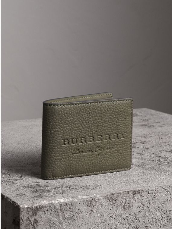 Textured Leather Bifold Wallet in Slate Green