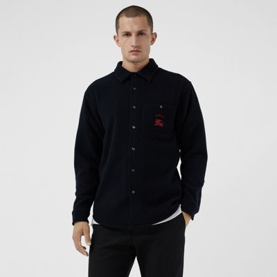 Embroidered Archive Logo Wool Cashmere Overshirt by Burberry