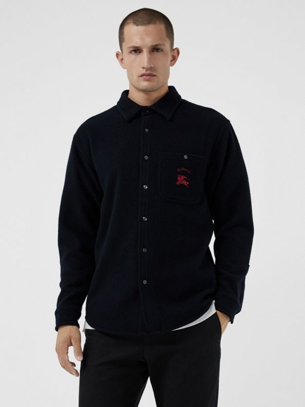 Embroidered Archive Logo Wool Cashmere Overshirt in Dark Navy