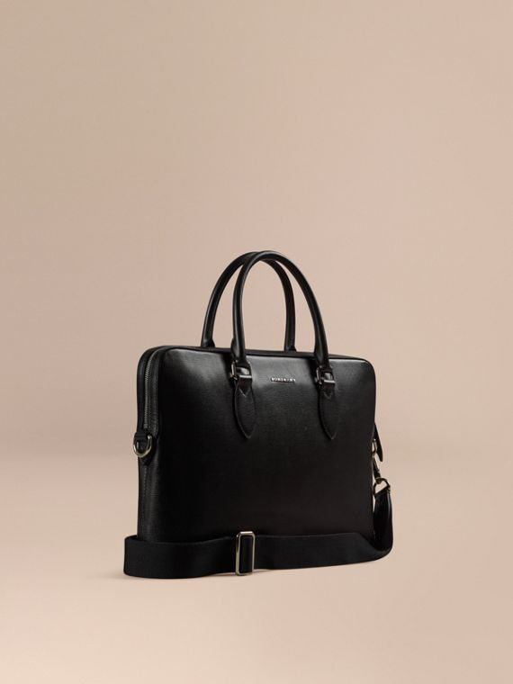Bolso Barrow estrecho en piel London Negro