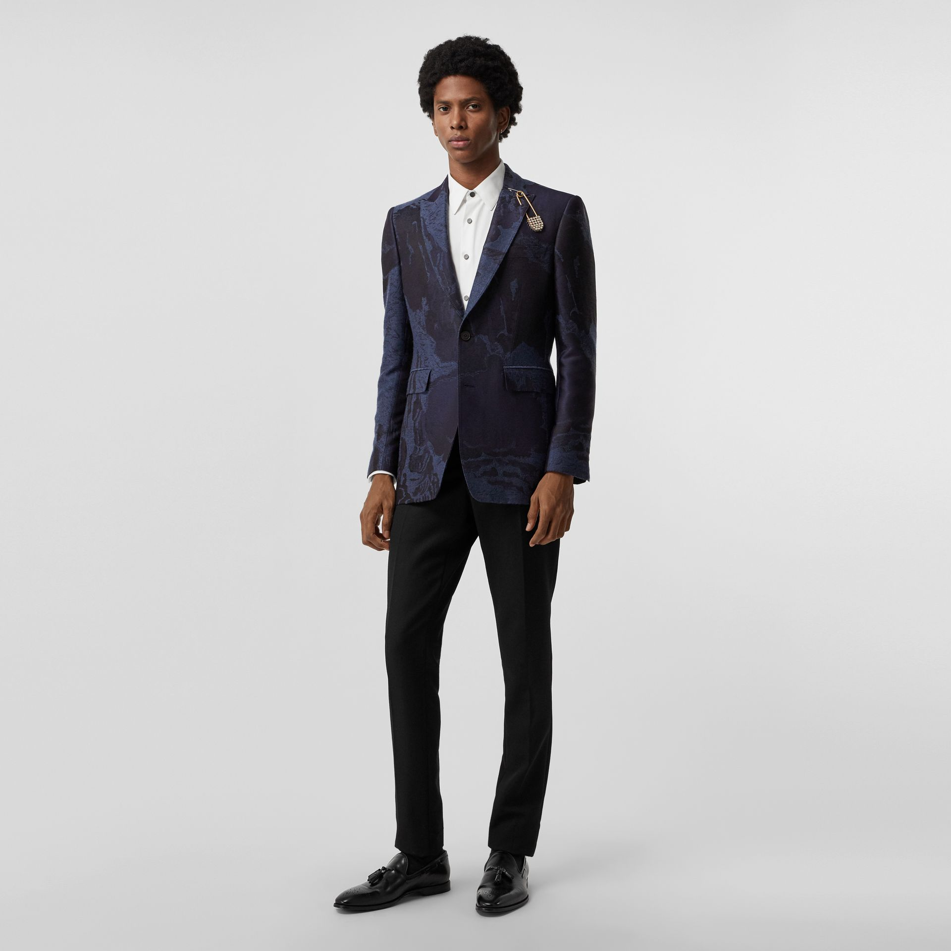 Classic Fit Dreamscape Wool Blend Tailored Jacket in Midnight Blue - Men | Burberry Singapore - gallery image 0