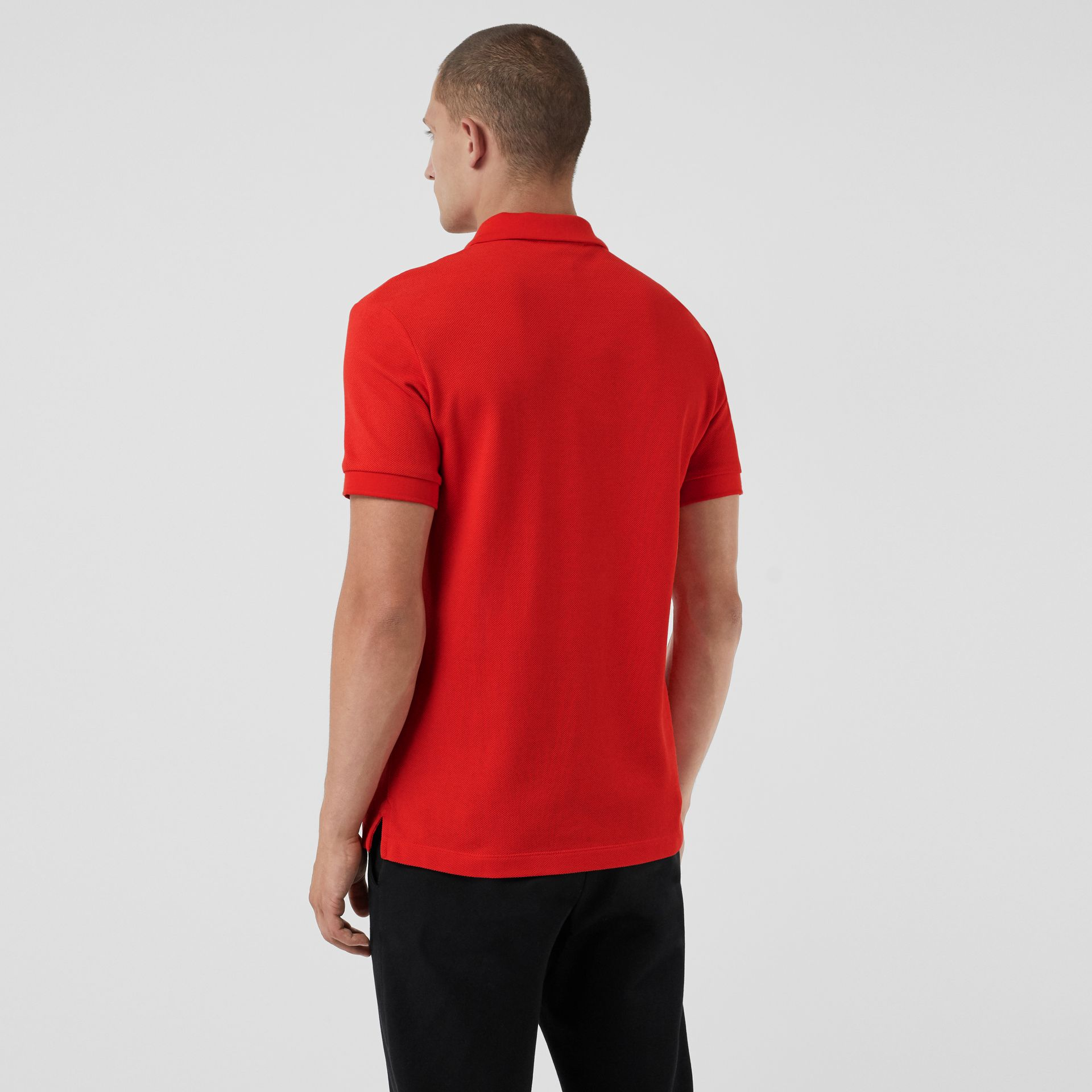 Check Placket Cotton Polo Shirt in Bright Red - Men | Burberry Singapore - gallery image 2