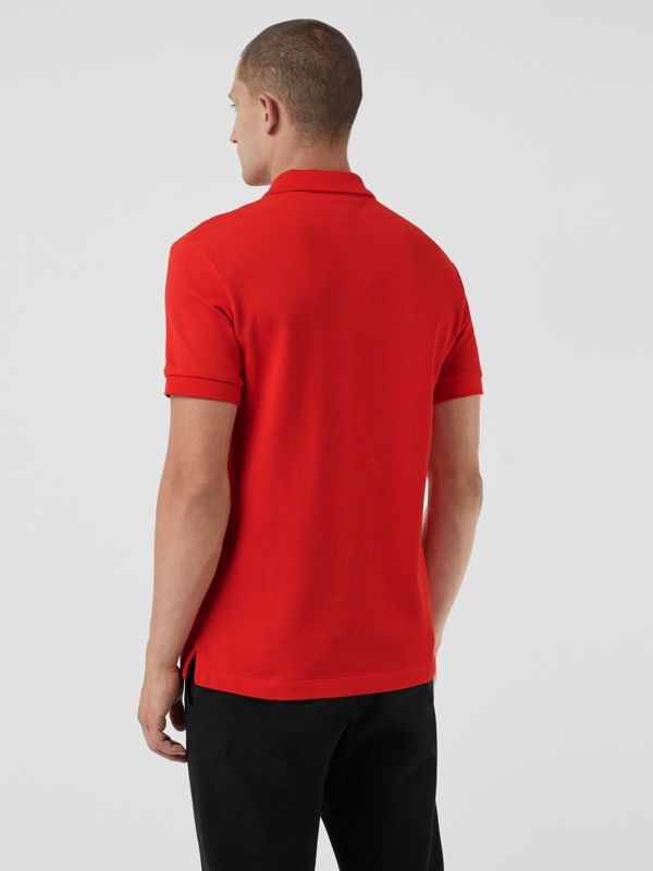 Check Placket Cotton Polo Shirt in Bright Red - Men | Burberry - cell image 2