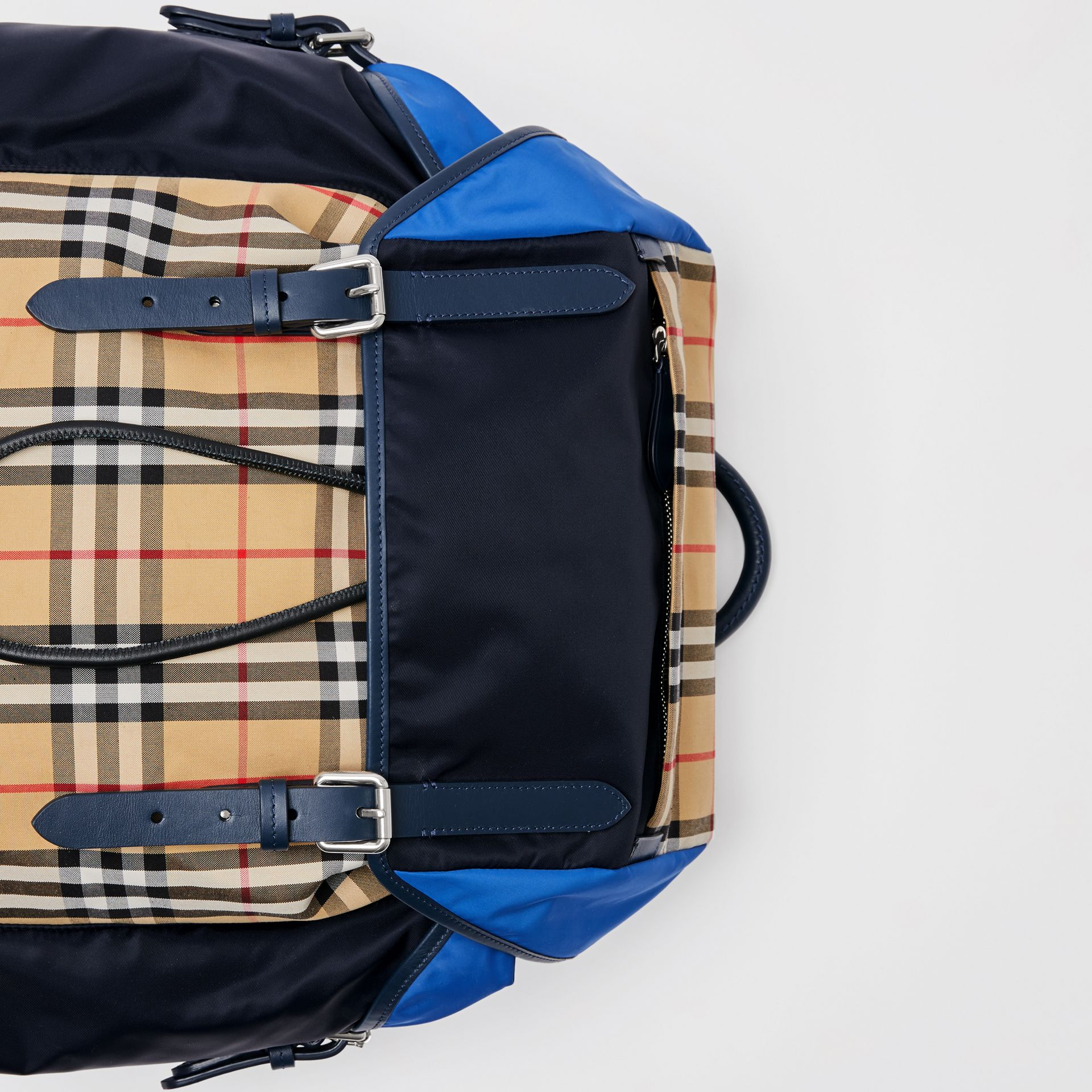 Colour Block Vintage Check and Leather Backpack in Navy - Men | Burberry Australia - gallery image 1