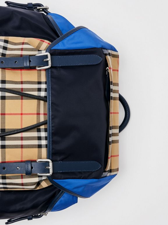 Colour Block Vintage Check and Leather Backpack in Navy - Men | Burberry - cell image 1