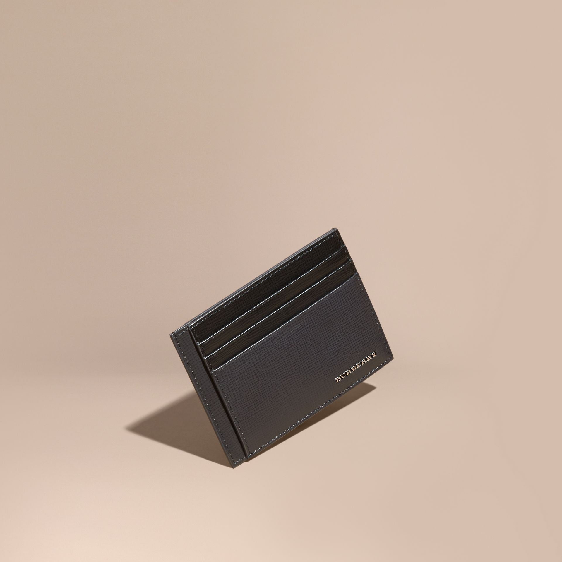Charcoal/black Colour Block London Leather Card Case Charcoal/black - gallery image 1