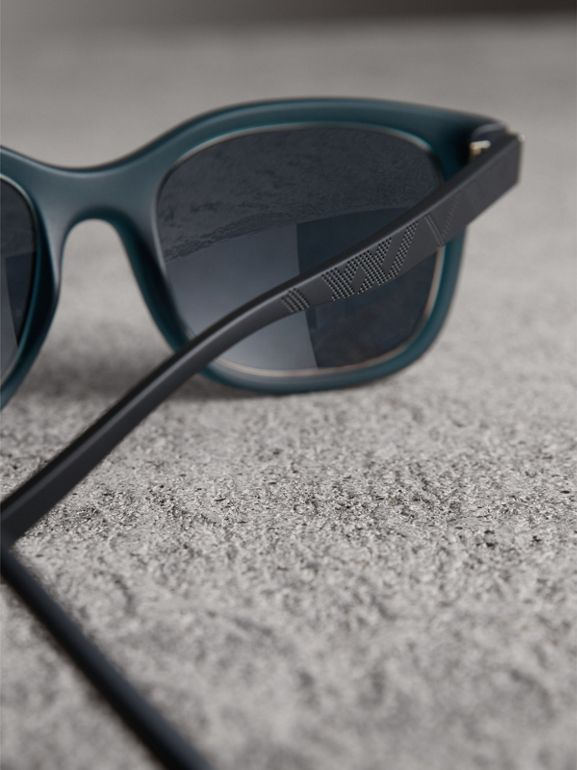 Embossed Check Detail Square Frame Sunglasses in Navy - Men | Burberry United Kingdom - cell image 1