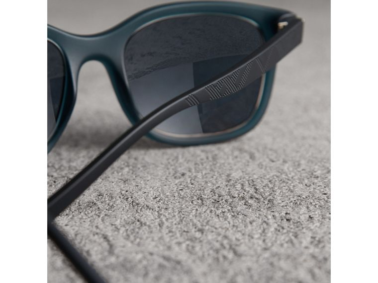 Embossed Check Detail Square Frame Sunglasses in Navy - Men | Burberry Singapore - cell image 1