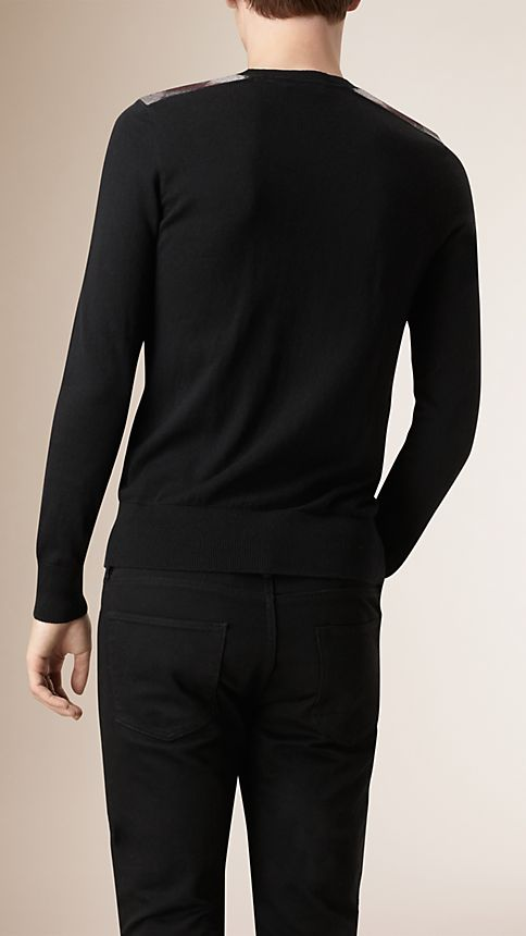 Black Check Detail Cotton Cashmere Sweater - Image 2