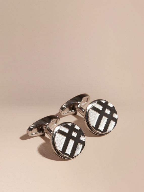 Check-engraved Round Cufflinks in Silver - Men | Burberry