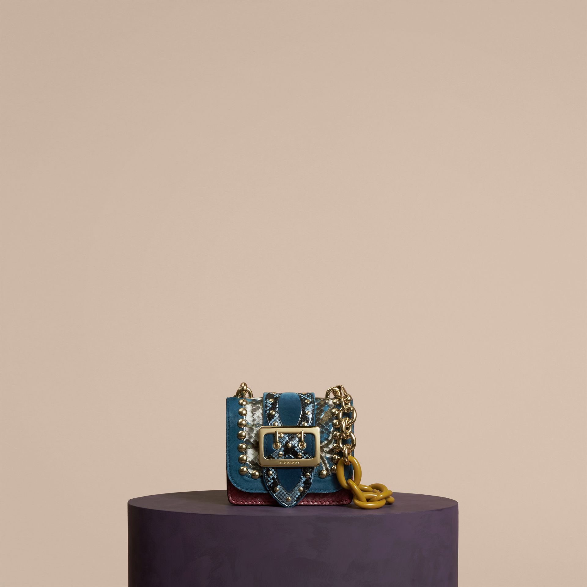 Pale opal The Mini Square Buckle Bag in Calfskin, Snakeskin and Velvet Pale Opal - gallery image 7