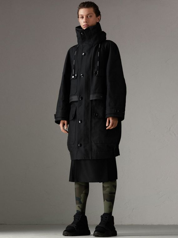 Bonded Technical and Cotton Twill Parka in Black