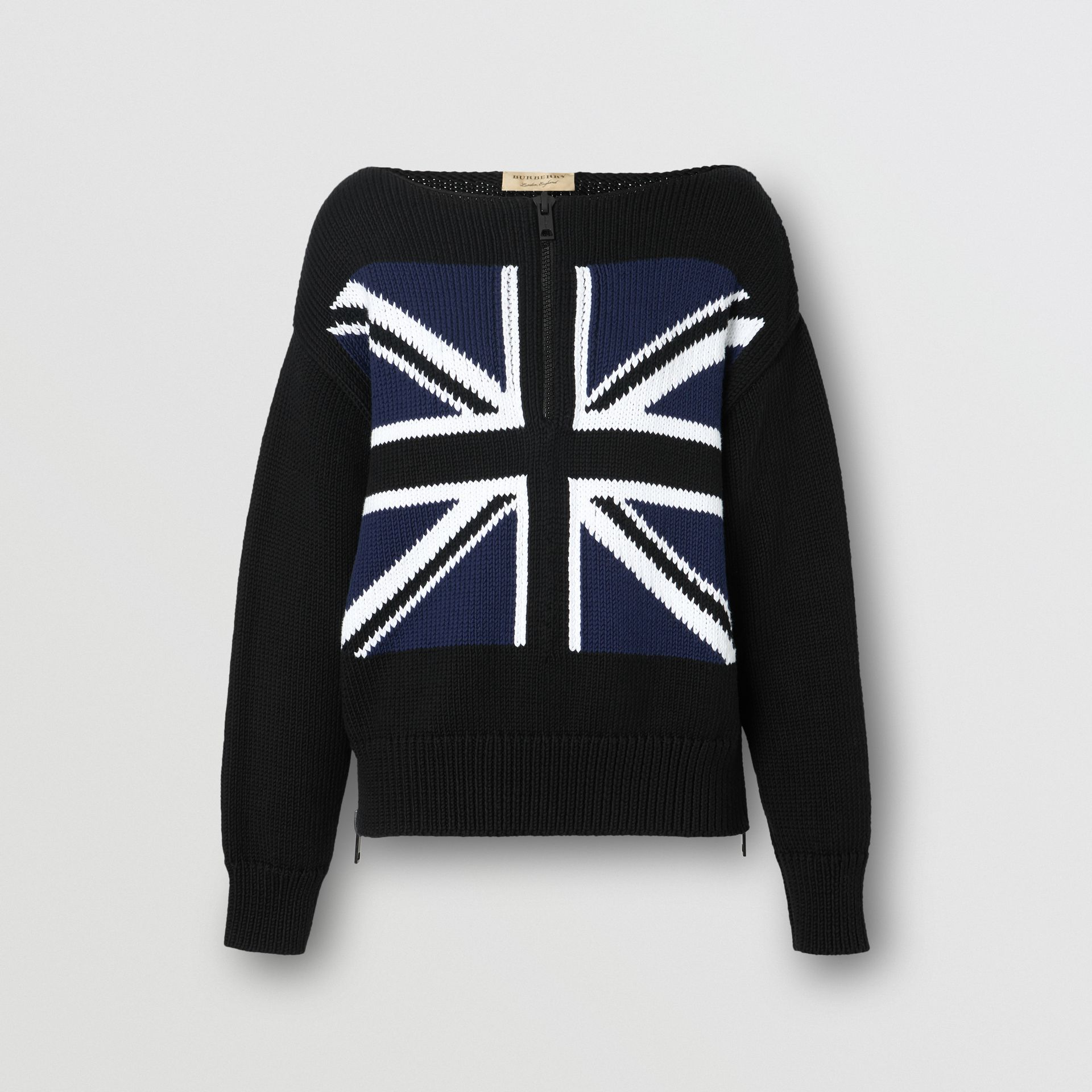 Zip Detail Union Jack Intarsia Cotton Sweater in Black - Women | Burberry - gallery image 3