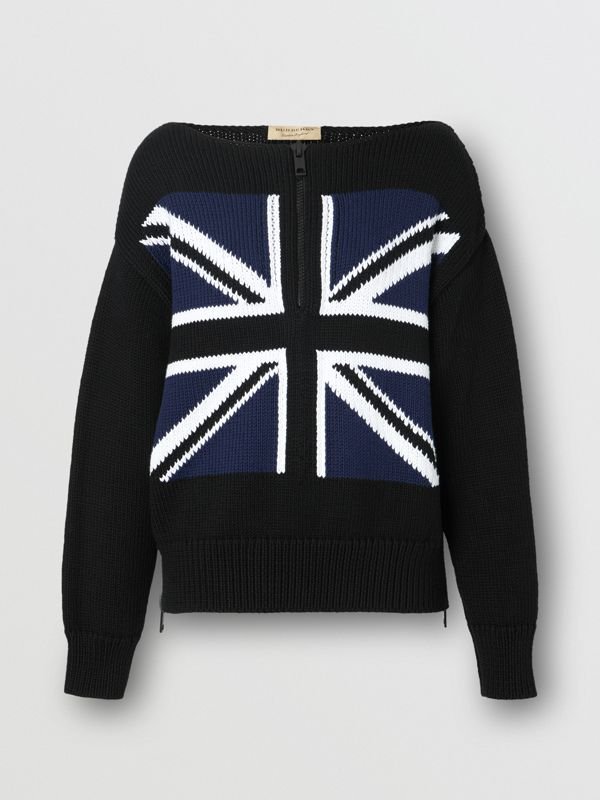 Zip Detail Union Jack Intarsia Cotton Sweater in Black - Women | Burberry - cell image 3