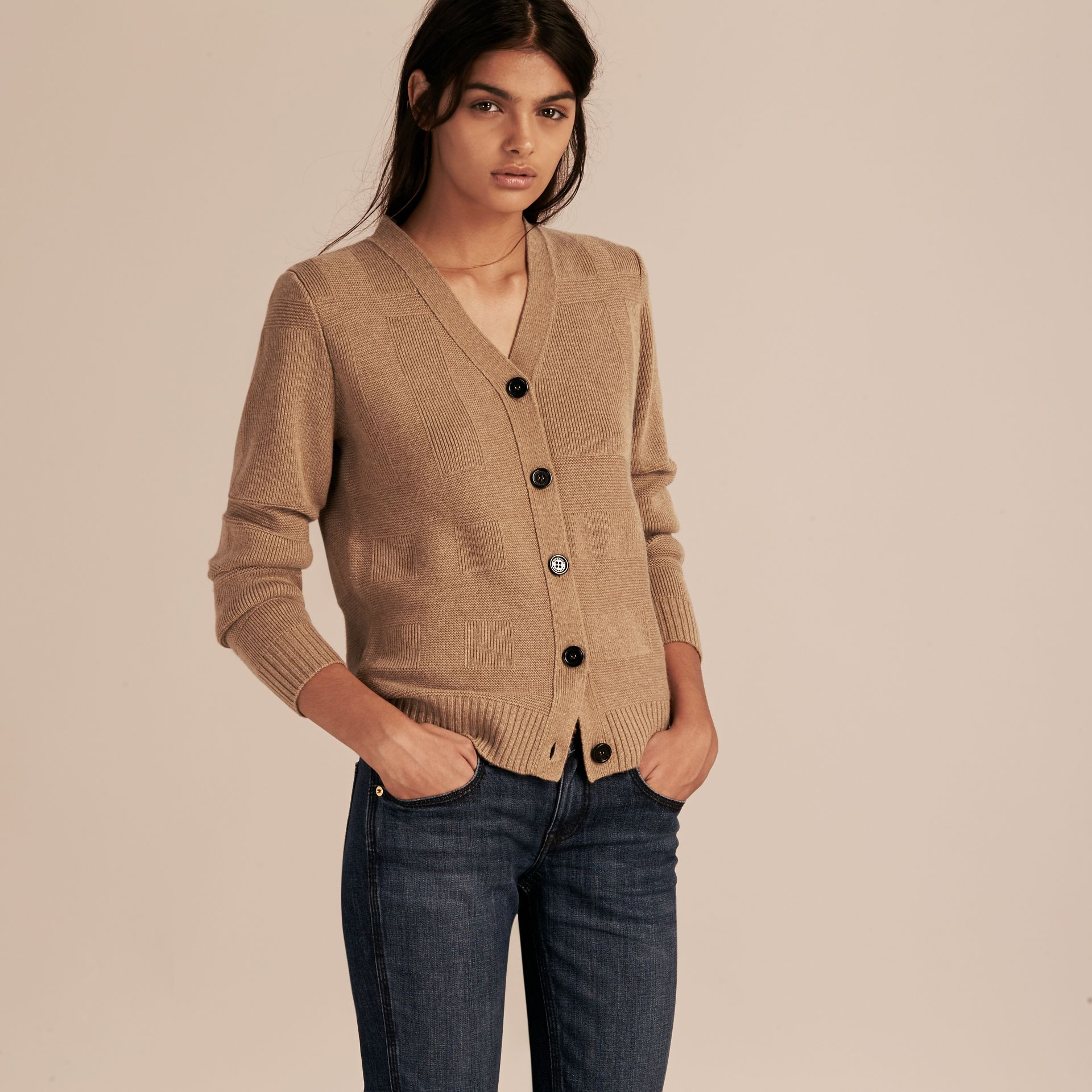 Check-knit Wool Cashmere Cardigan in Camel - gallery image 6