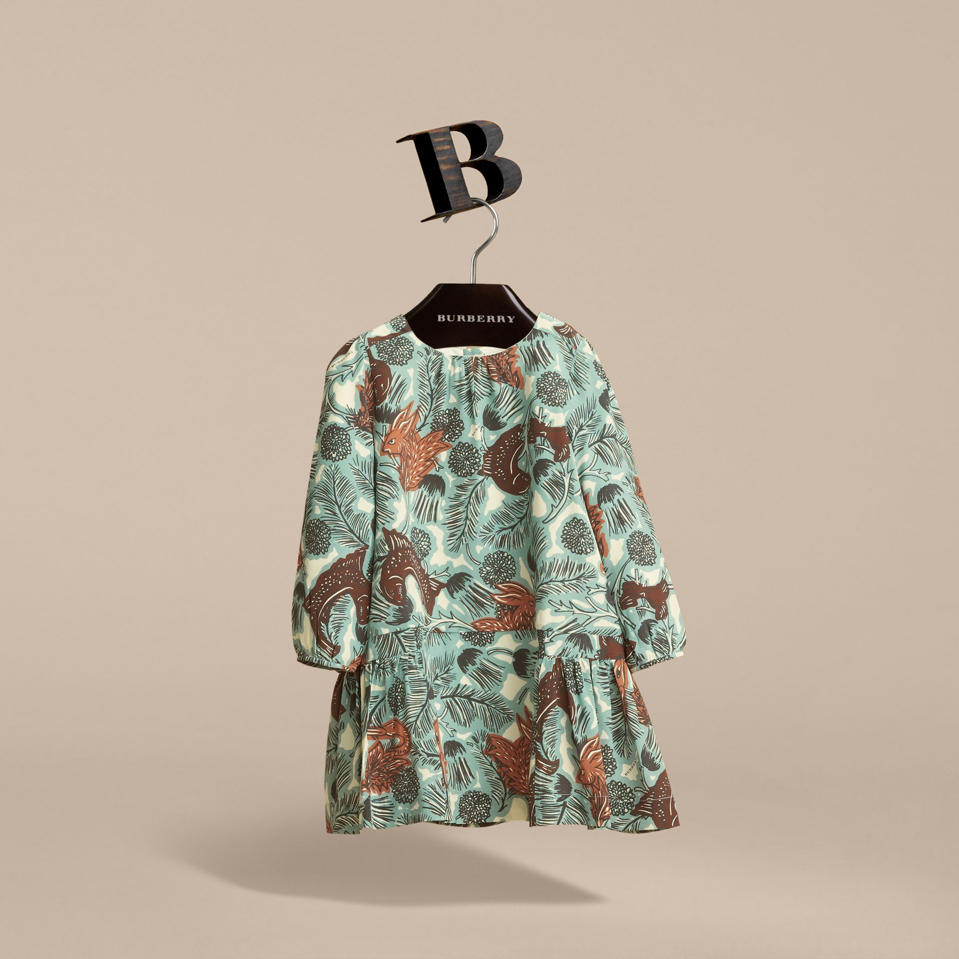 Beasts Print Silk Dropped-waist Dress in Pale Celadon - Girl | Burberry - gallery image 4