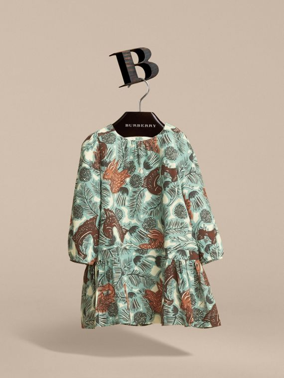 Beasts Print Silk Dropped-waist Dress in Pale Celadon - Girl | Burberry - cell image 3