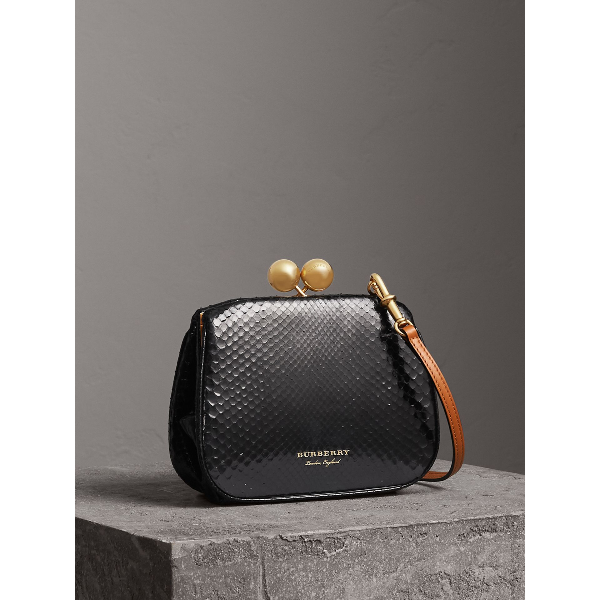 Small Two-tone Python Metal Frame Clutch Bag in Black - Women | Burberry - gallery image 6