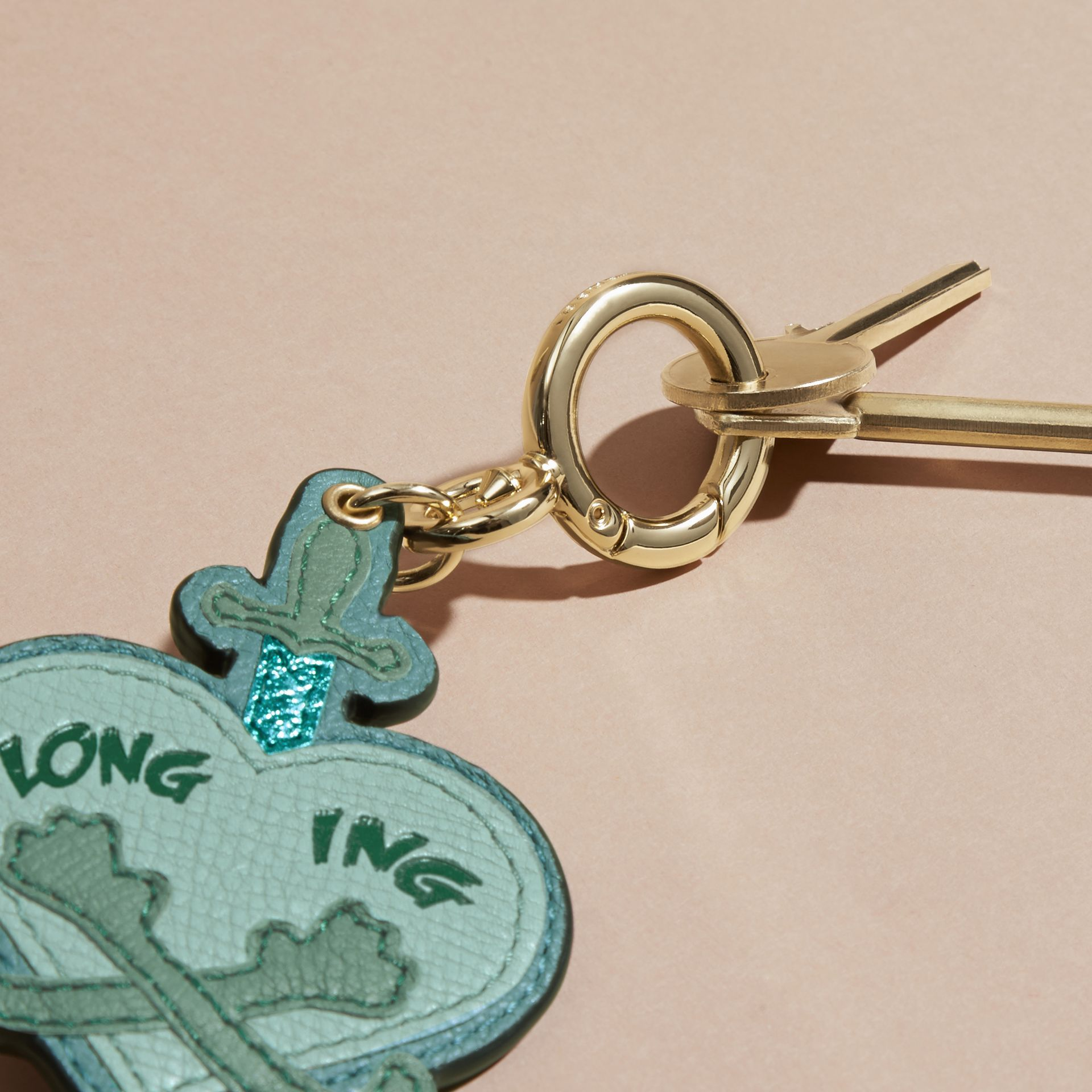 Storm green Longing Motif Leather Key Charm - gallery image 3