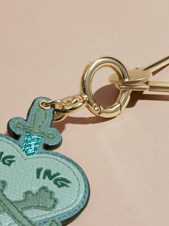 Storm green Longing Motif Leather Key Charm - cell image 2