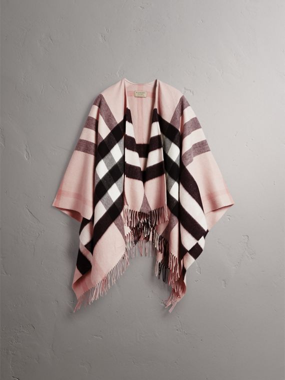 Check Cashmere and Wool Poncho in Ash Rose - Women | Burberry Canada - cell image 3