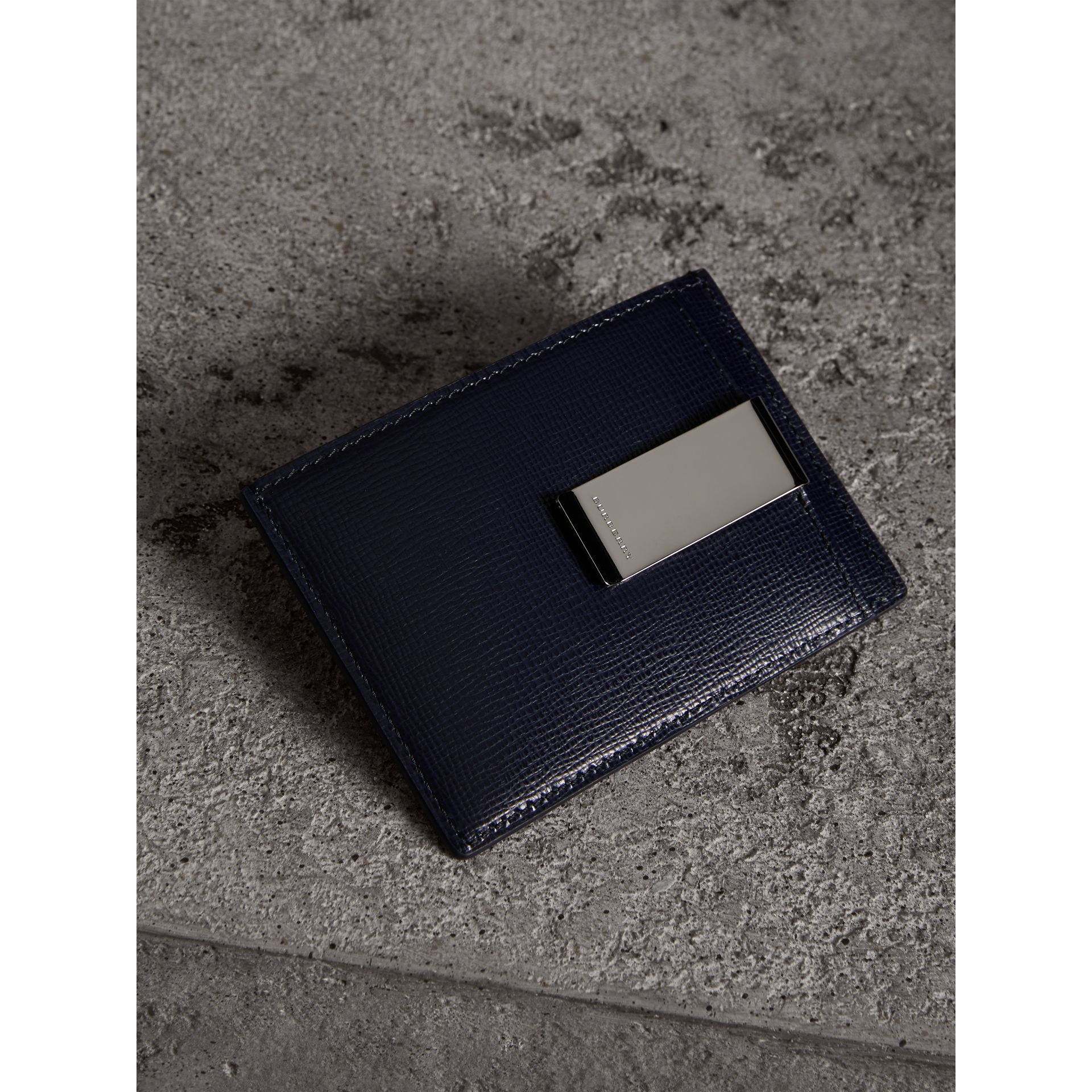 London Leather Money Clip Card Case in Dark Navy - Men | Burberry - gallery image 3