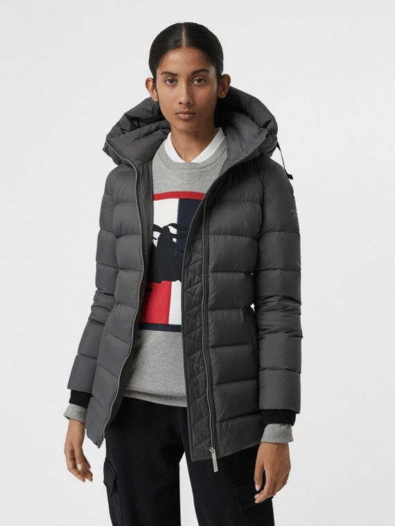 Down-filled Hooded Puffer Coat in Mid Grey