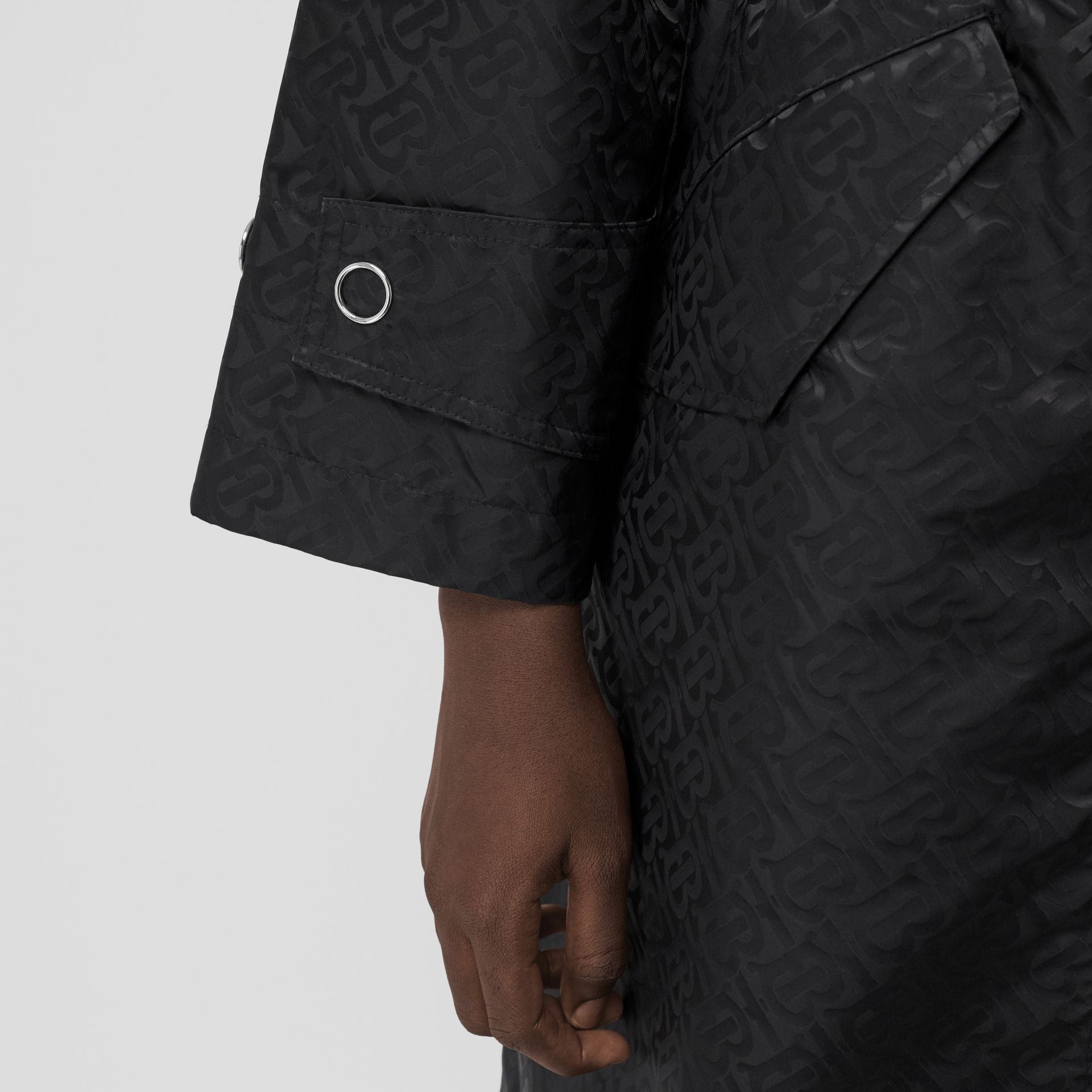 Monogram ECONYL® Jacquard Hooded Parka in Black - Women | Burberry Canada - gallery image 4