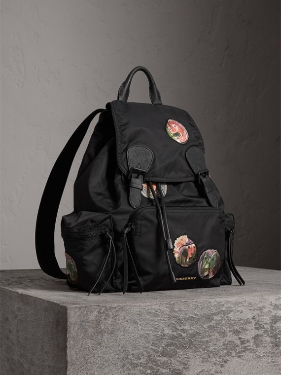 The Large Rucksack in Technical Nylon with Pallas Heads Appliqué in Black