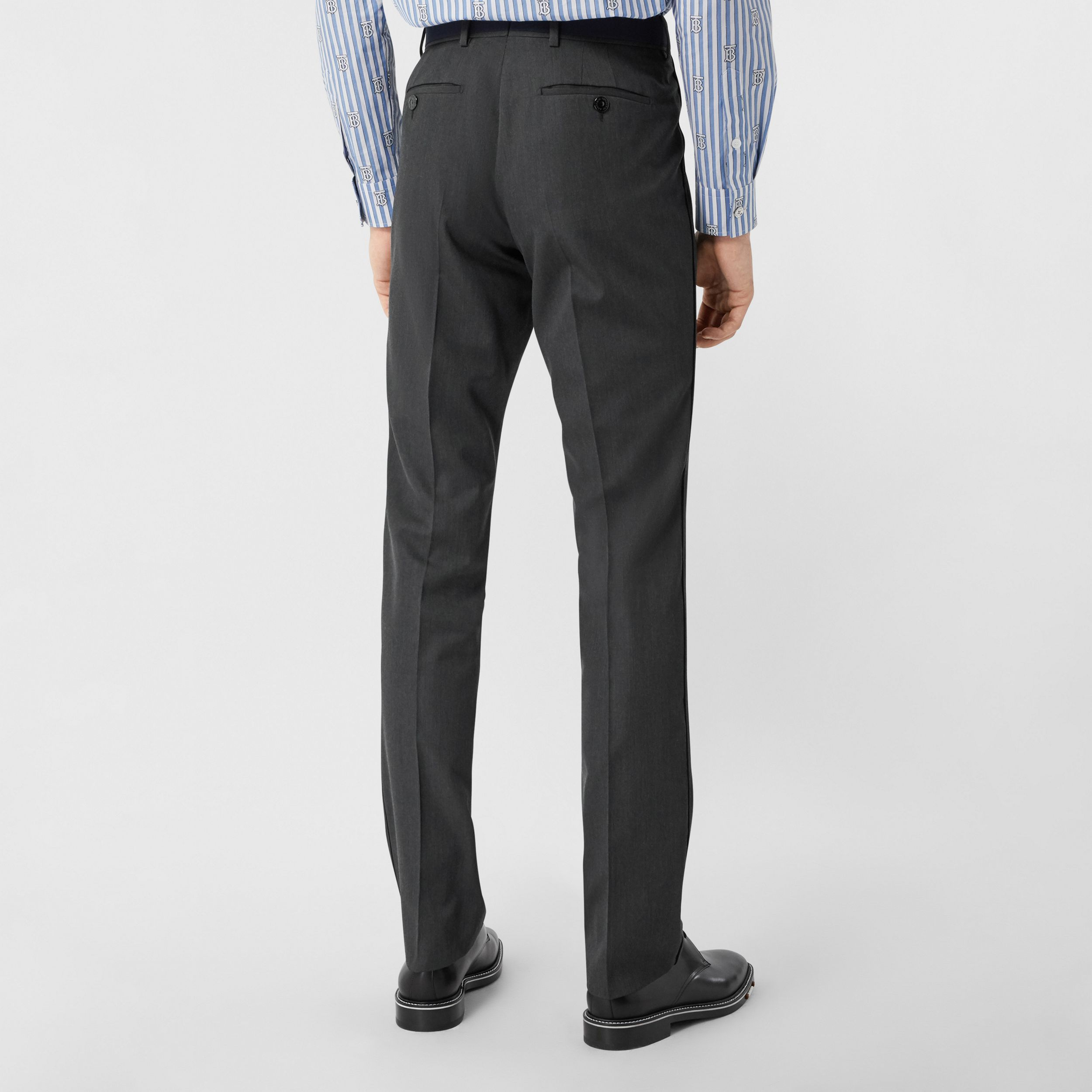 Classic Fit Panelled Wool Tailored Trousers in Charcoal - Men | Burberry - 3