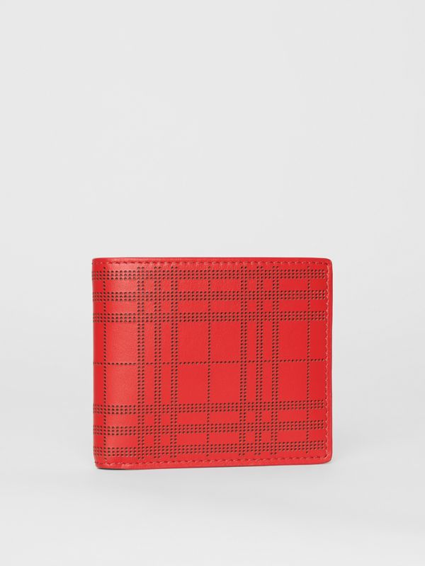 Perforated Check Leather International Bifold Wallet in Rust Red - Men | Burberry Canada - cell image 3