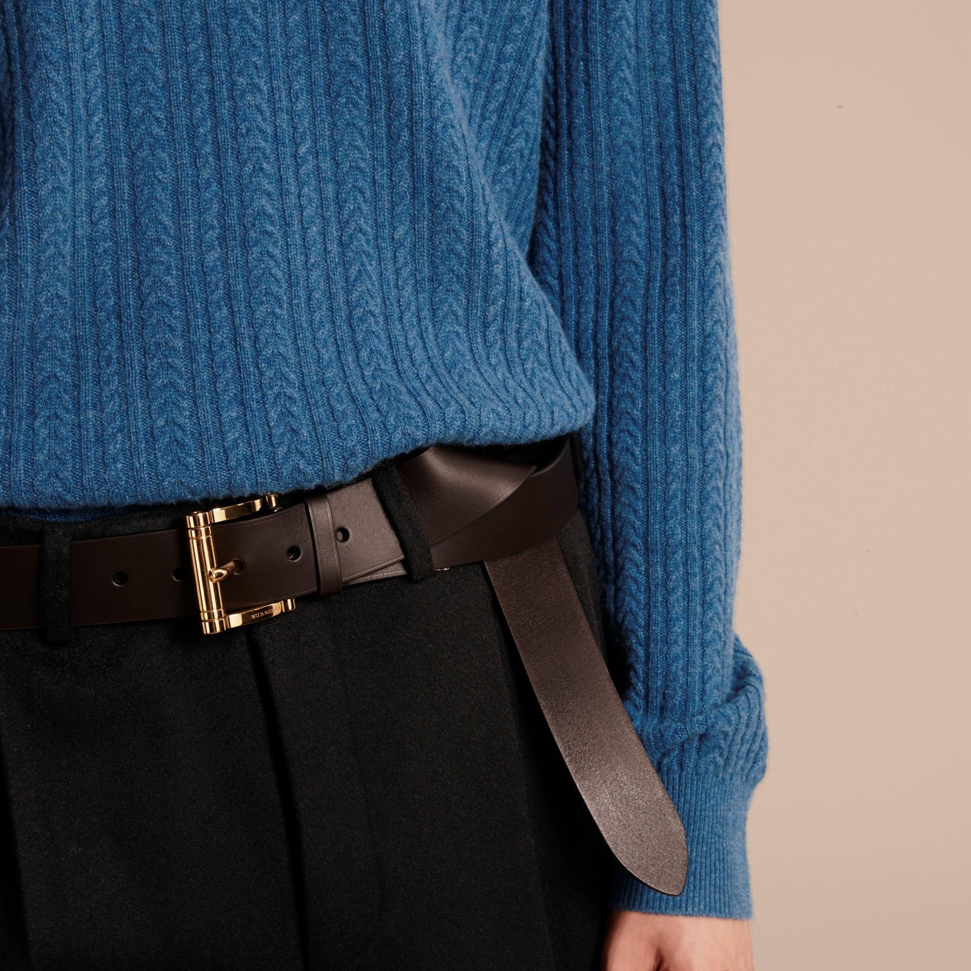 Azul hortênsia Suéter de cashmere em ponto Aran Azul Hortênsia - galeria de imagens 5