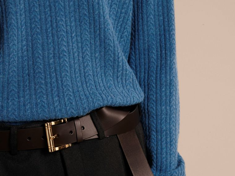 Aran Knit Cashmere Sweater in Hydrangea Blue - cell image 4