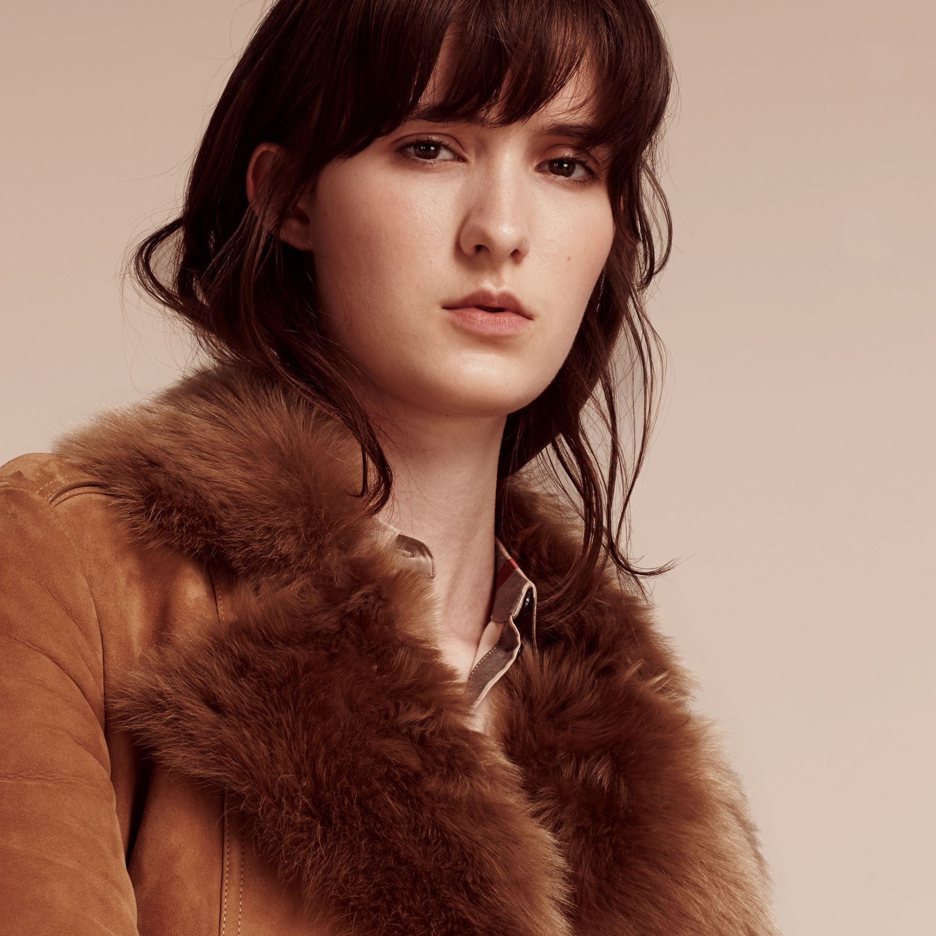 Dark camel Shearling Wrap Coat - gallery image 4