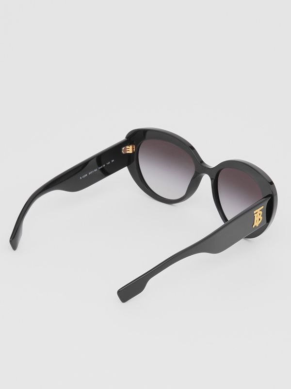 Monogram Motif Cat-eye Frame Sunglasses in Black - Women | Burberry Canada - cell image 3