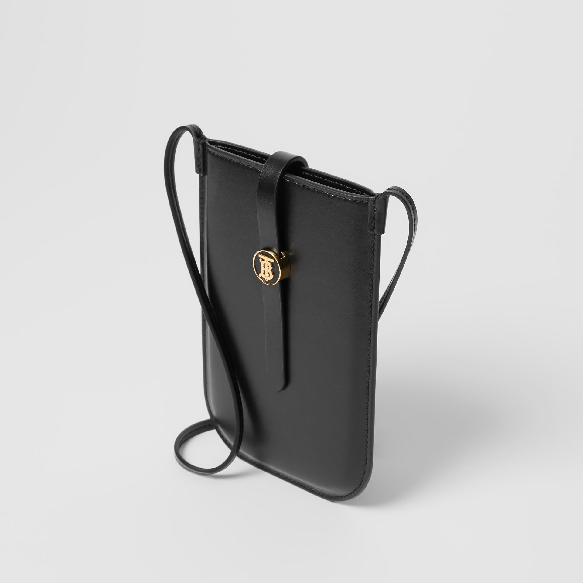 Leather Phone Case with Strap in Black | Burberry United Kingdom - gallery image 9