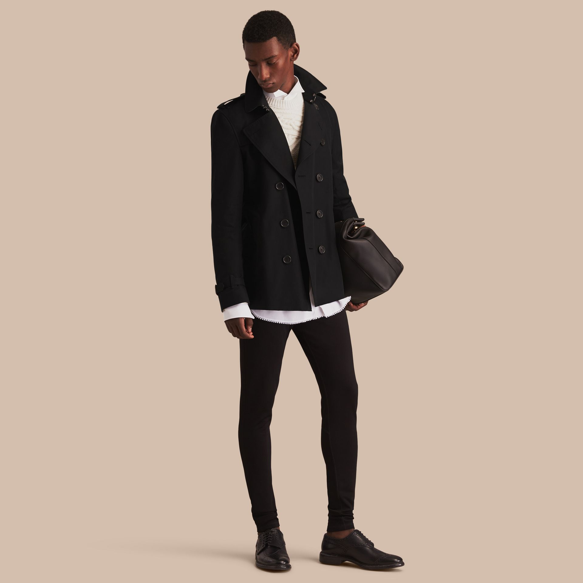 Black The Kensington – Short Heritage Trench Coat Black - gallery image 1