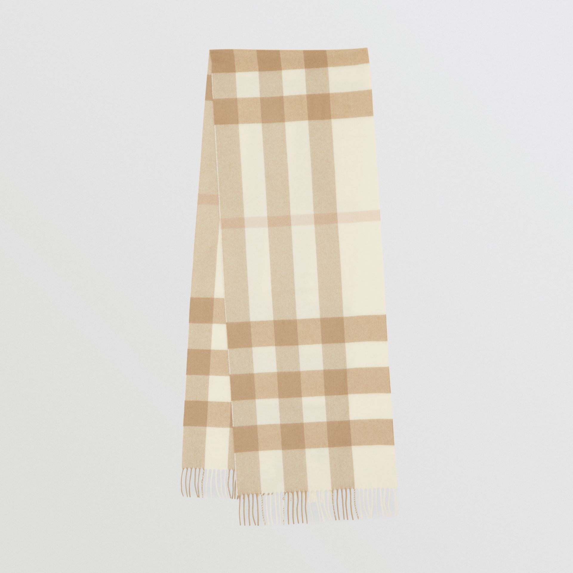 Check Cashmere Scarf in White | Burberry - gallery image 0