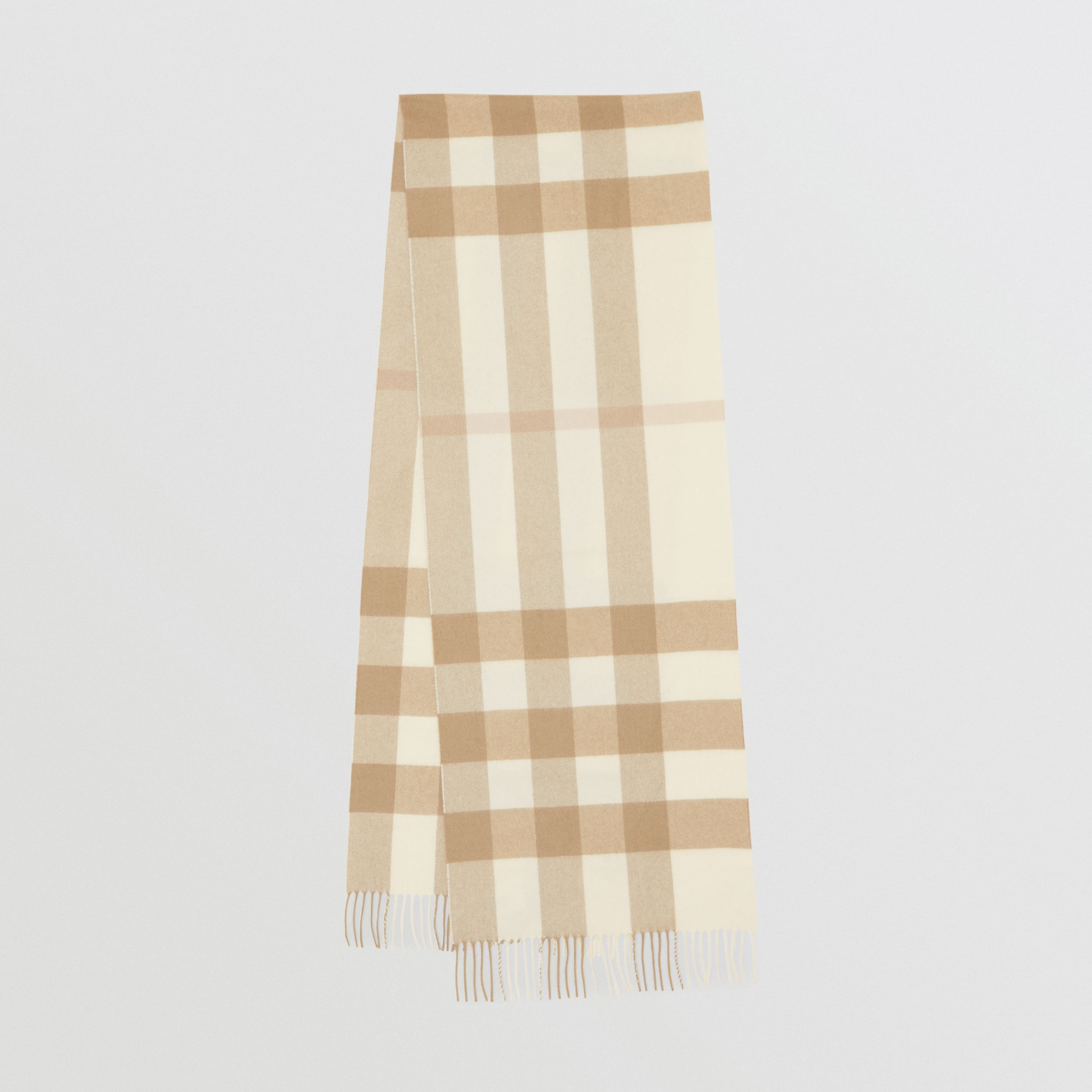Check Cashmere Scarf in White | Burberry United Kingdom - 1