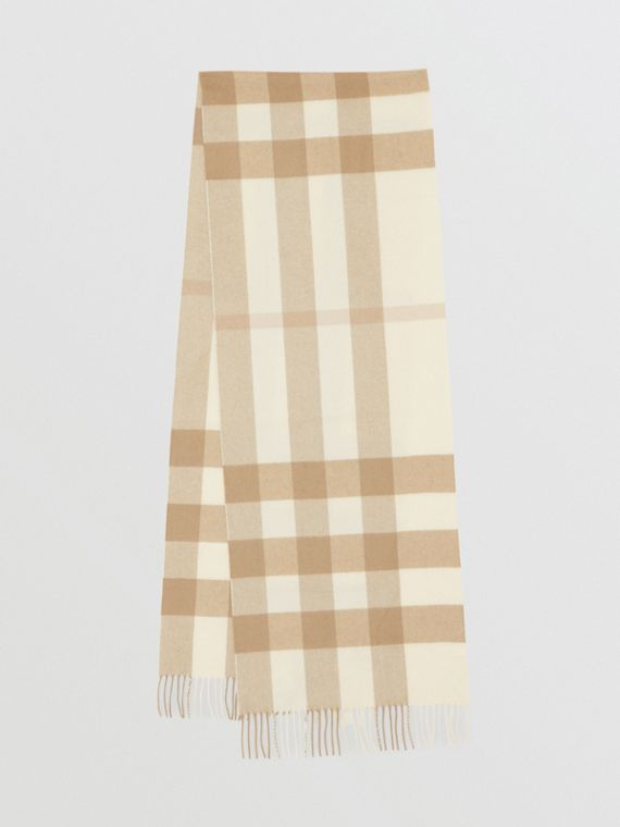 Check Cashmere Scarf in White